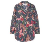 His Shirt For Her Bedrucktes Pyjama-hemd aus Baumwoll-voile