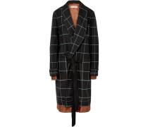 Karierter Mantel aus Twill mit Satinbesatz
