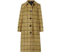 Karierter Mantel aus Gebürsteter Wolle