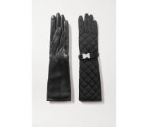 Handschuhe aus Gestepptem Nylon und Leder