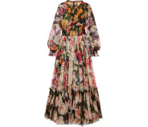 Robe aus Seidenchiffon mit Floralem Print