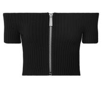 Schulterfreies, Verkürztes Oberteil aus Geripptem Stretch-strick