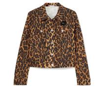 Verkürzte Jeansjacke mit Leopardenprint