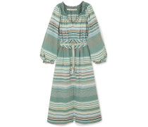 Bardot Kleid aus Gestreifter Baumwolle