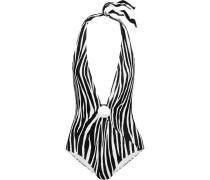 Neckholder Badeanzug mit Zebraprint