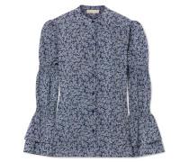 Bedruckte Bluse aus Crêpe mit Rüschen