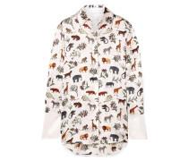 Hemd aus Bedrucktem Seidensatin