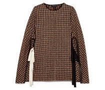 Karierter Poncho aus Tweed aus einer Wollmischung