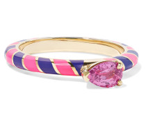 Candy Ring aus 14 Karat  mit Emaille und Saphir