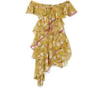Nuccia Schulterfreies Kleid aus Seidenchiffon
