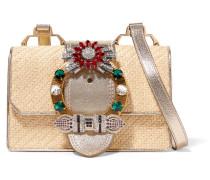 Miu Lady Verzierte Schultertasche aus Raffiabast und Strukturiertem Leder