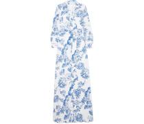 Robe aus Seiden-crêpe mit Blumenprint
