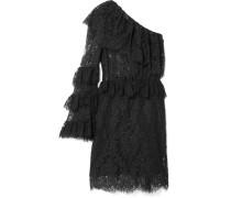 Gerüschtes Minikleid aus Spitze aus einer Baumwollmischung