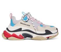 Triple S Sneakers aus Leder, Nubukleder und Mesh