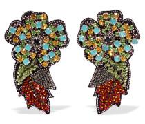 Ohrclips mit Kristallen, Zierperlen und Filz