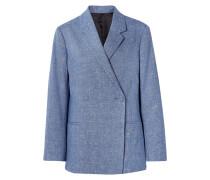 Loreo Doppelreihiger Oversized-blazer aus einer Melierten Baumwoll-leinenmischung