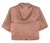 Bluse aus Seidensatin mit Polka-dots