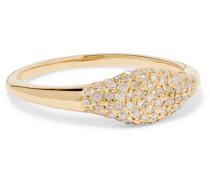 Sparkle Mini Signet Ring aus 14 Karat