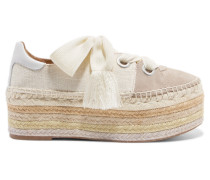 Qai Espadrille-sneakers aus Canvas, Veloursleder und Leder