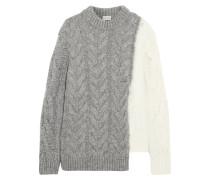 Zweifarbiger Pullover in Zopfstrick