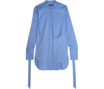 Melodrama Hemd Aus Popeline Aus Einer Baumwollmischung Mit Eingewebten Punkten - Blau