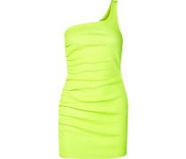 Gerafftes Minikleid aus Neonfarbenem Leder