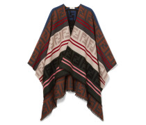 Poncho aus Jacquard aus einer Woll-seidenmischung