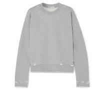 Sweatshirt aus Baumwollfrottee in Distressed-optik