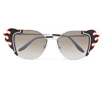 Verzierte Cat-eye-sonnenbrille aus Azetat und Silberfarbenem Metall