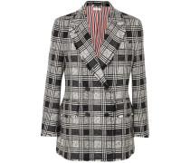 Doppelreihiger Blazer aus Kariertem Tweed aus einer Wollmischung