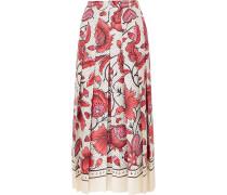 Faltenrock aus Seiden-twill mit Blumenprint