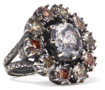 Ring aus Oxidiertem  mit Cubic Zirkonia-steinen