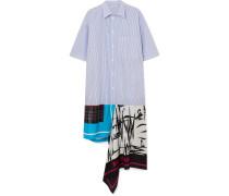 Asymmetrisches Kleid aus Baumwollpopeline und Seiden-twill in Patchwork-optik