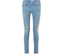 Hoch Sitzende Skinny Jeans in Distressed-optik