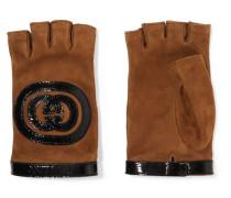 Fingerlose Handschuhe aus Veloursleder