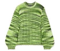 Neon Melierter Pullover aus Rippstrick
