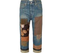 Verkürzte Boyfriend-jeans im Patchwork-stil