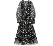 Robe aus Tüll mit Blumenprint in Wickeloptik