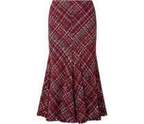 Midirock aus Tweed mit Fransen