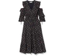 Floral Bedrucktes Kleid aus Baumwoll-schaftgewebe
