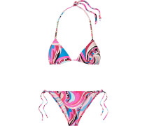 Bedruckter Triangel-bikini mit Kettendetail