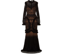 Robe aus Pointelle-strick mit Rüschen
