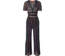 Jumpsuit aus Stretch-rippstrick in Metallic-optik