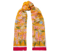 Schal aus Floral Bedrucktem Seidenkrepon