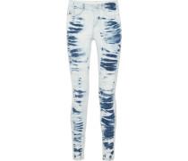 Halbhohe Skinny Jeans mit Batikmuster