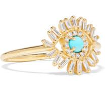Ring aus 18 Karat  mit Diamanten und Türkis