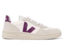 V-10 Sneakers aus Mesh und Veloursleder