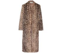 Mantel aus Faux Fur mit Leopardenprint