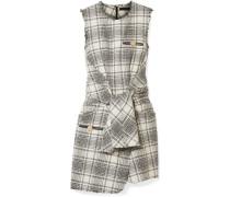 Minikleid aus Bouclé-tweed mit Lederbesatz