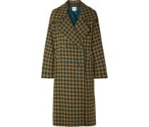 Ethno Pop Karierter Oversized-mantel aus einer Wollmischung